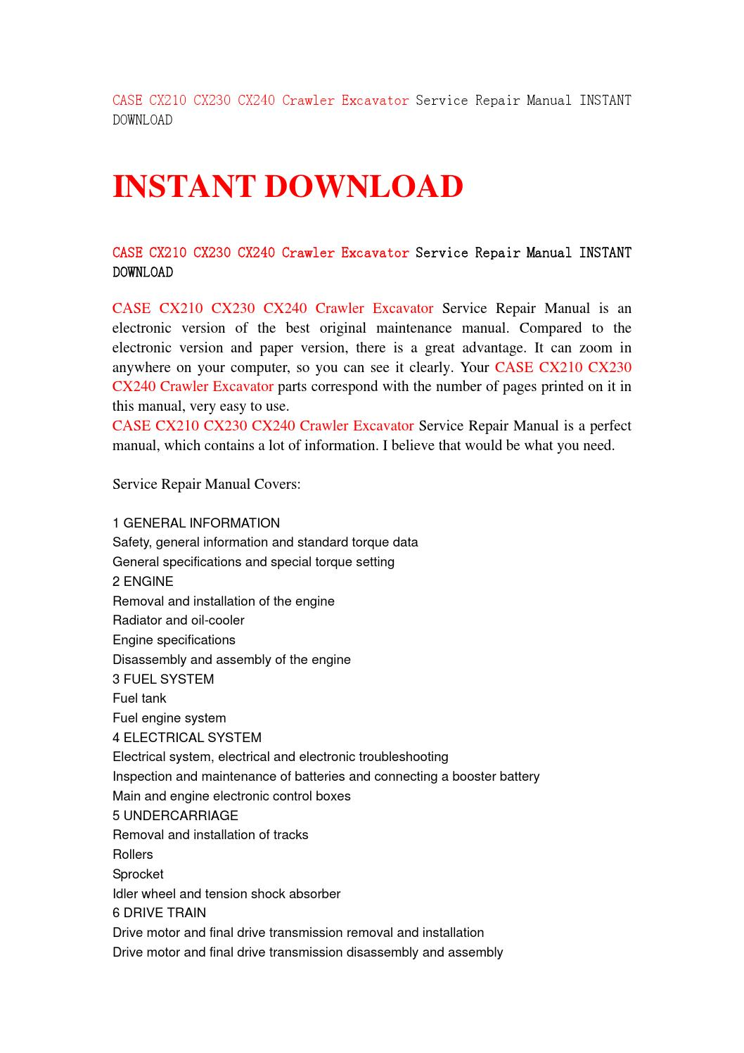 Case cx210 cx230 cx240 crawler excavator service repair manual instant  download by jfhsjefn - issuu