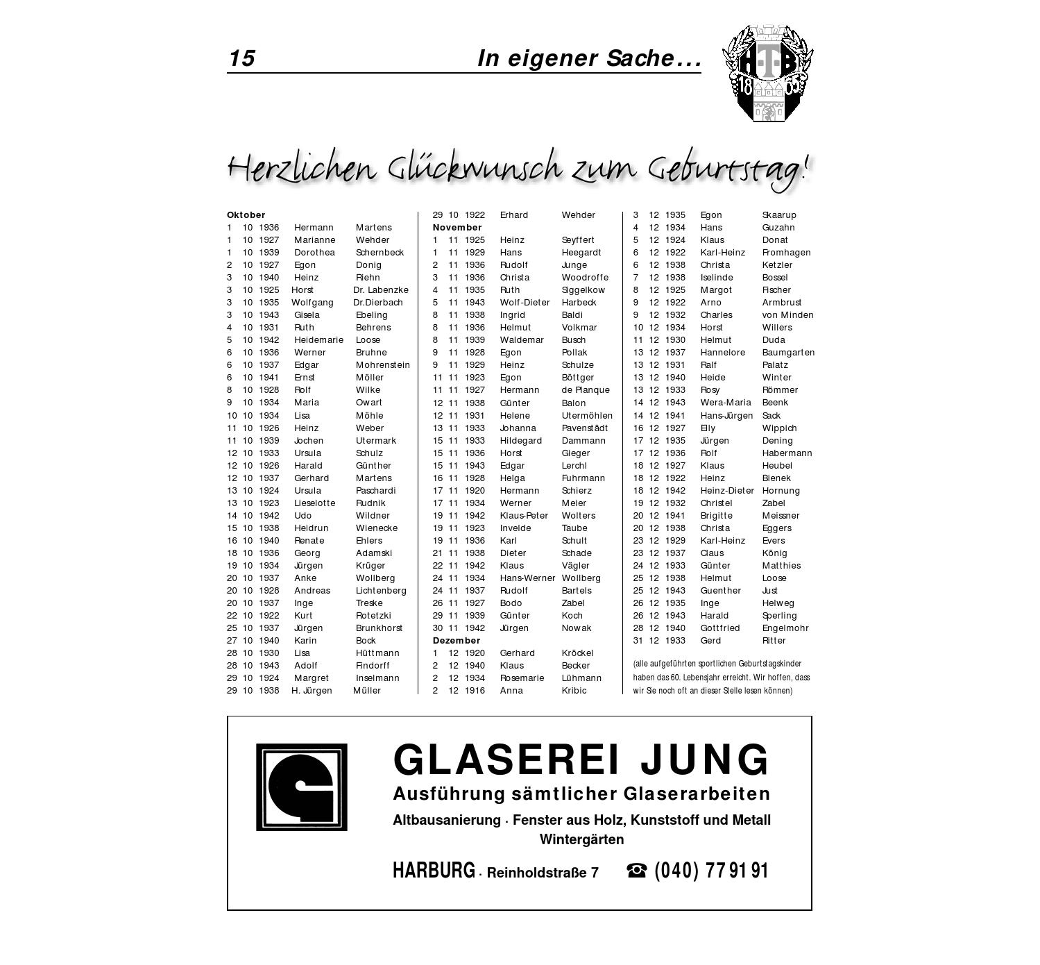 Glaserei Harburg 2003 03 htb magazin schwarz weiss by harburger turnerbund 1865