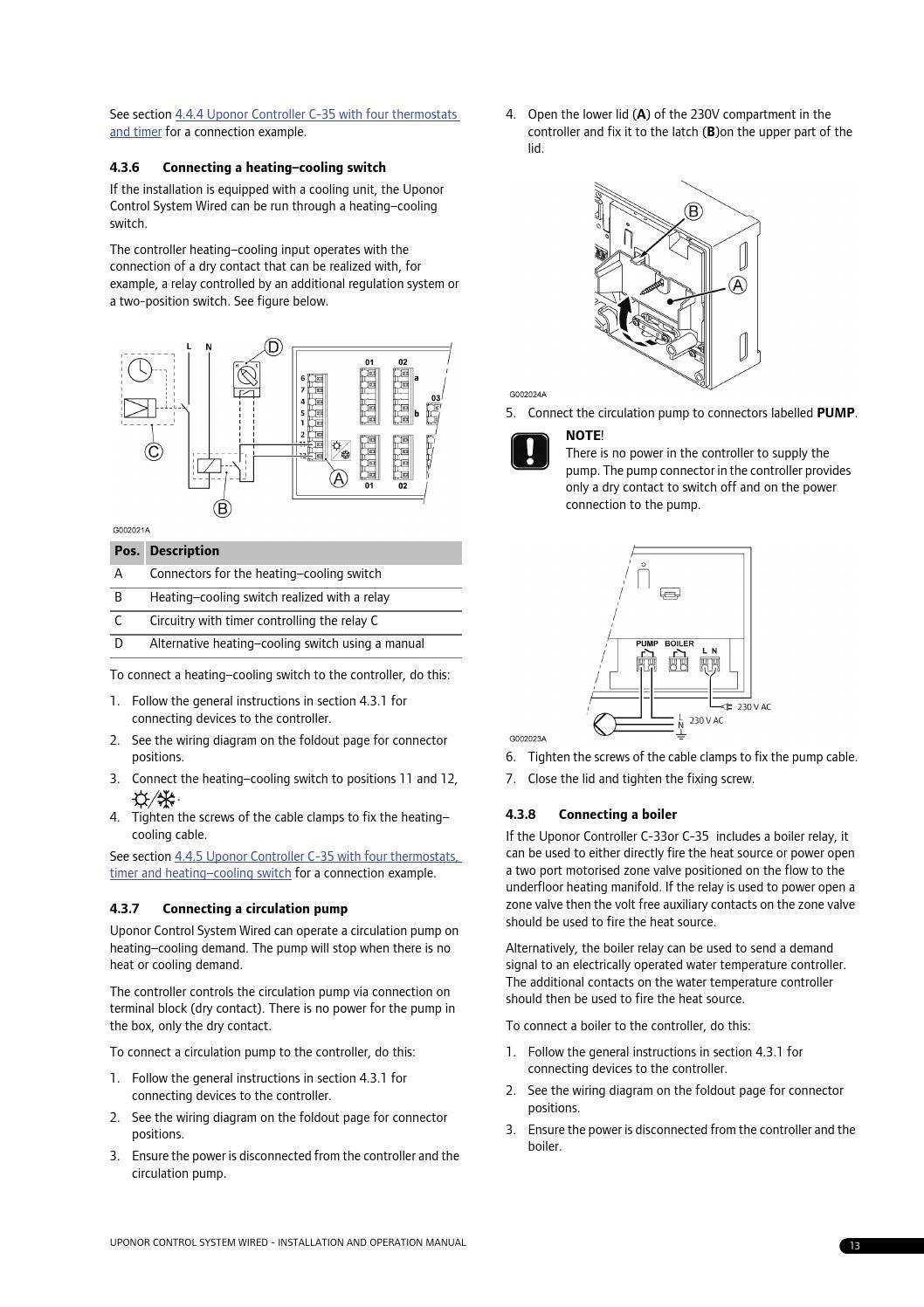 C35 Manual By Uponor Uk Issuu Circulator Pump Relay Wiring