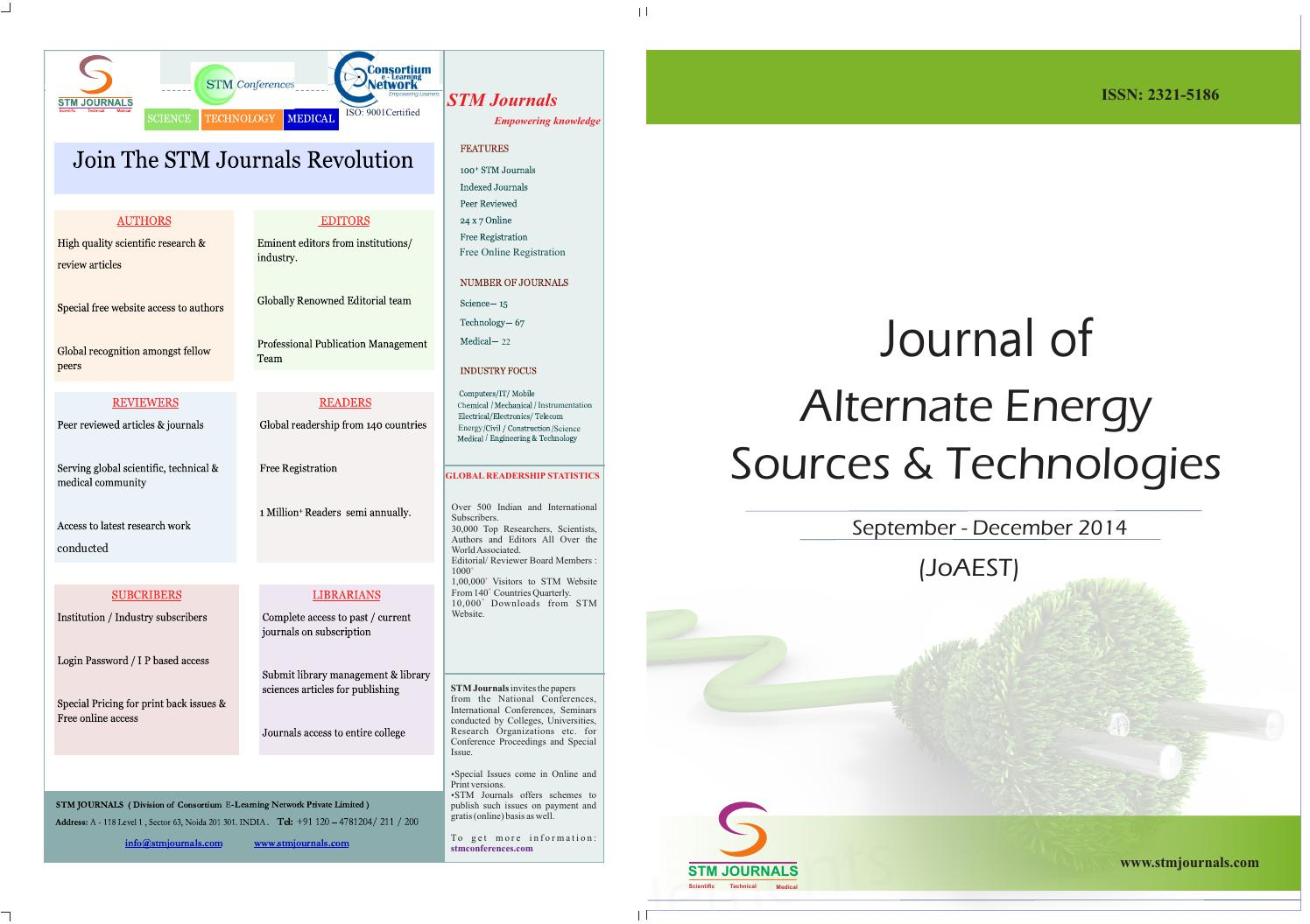 Journal of alternate energy sources & technologies (vol5