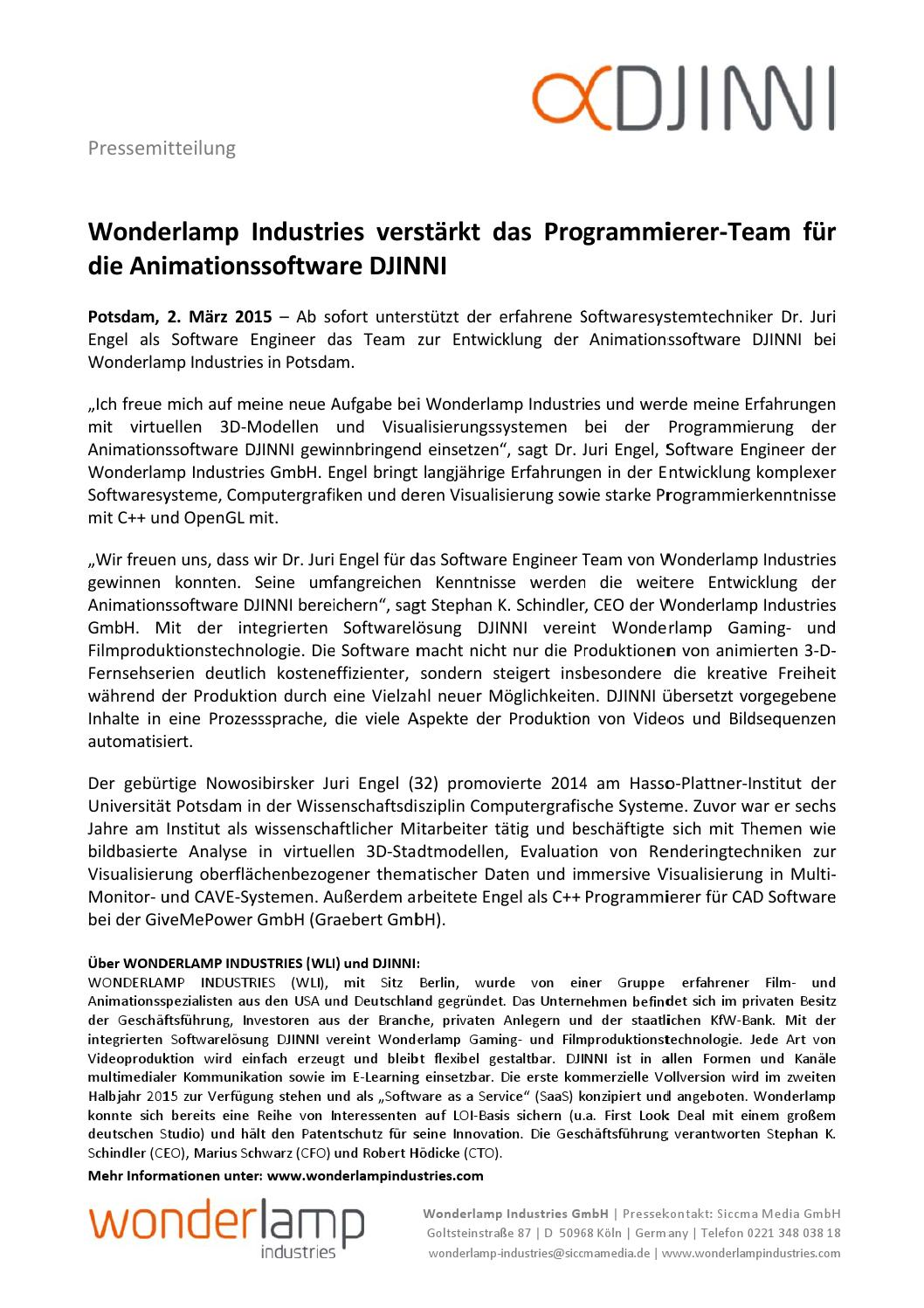 Wonderlamp Industries Verst 228 Rkt Das Programmierer Team F 252 R