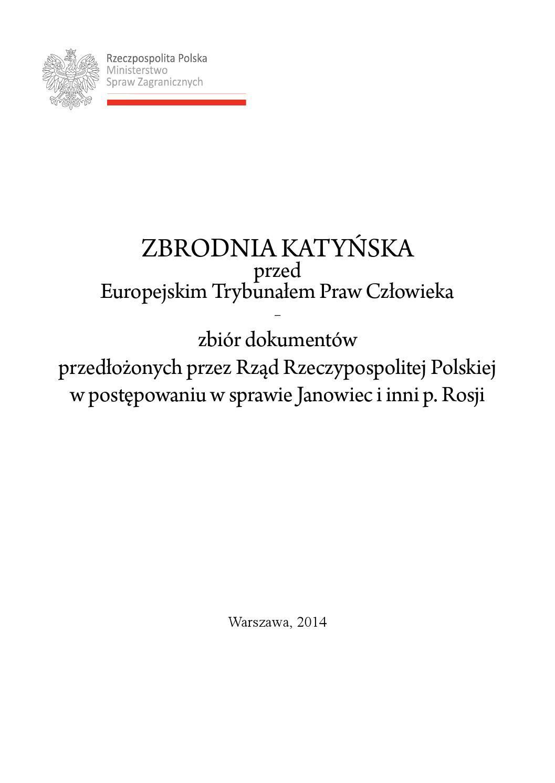 Zbrodnia Katyńska Przed Europejskim Trybunałem Praw