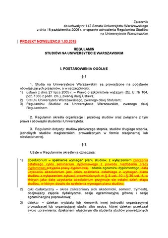 Regulamin Studiow Na Uw Stan Na 1 03 2015 By Parlament Studentow