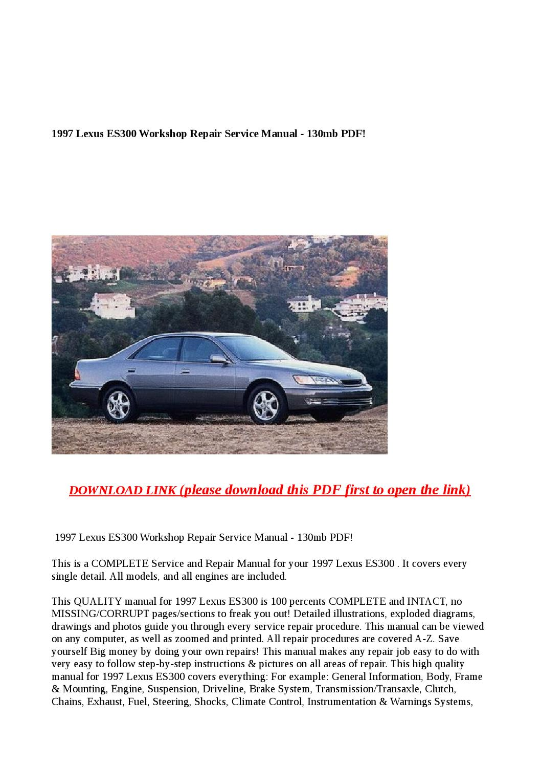 1997 lexus es300 workshop repair service manual 130mb pdf ...
