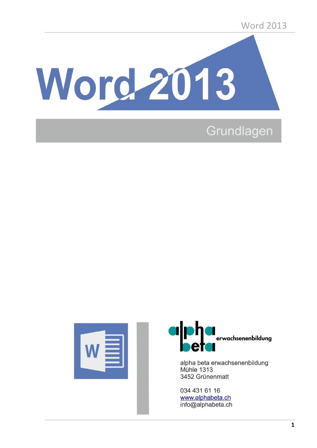 Word 2013 grundlagen by alphabeta - issuu