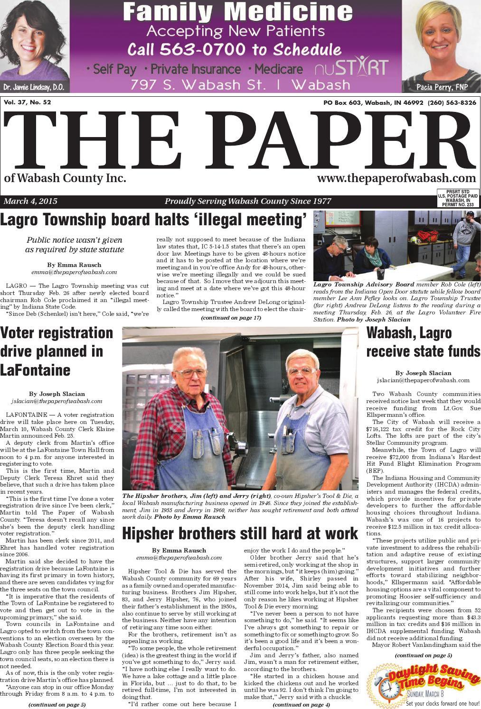 Indiana wabash county lagro - The Paper Of Wabash County March 4 2015 Issue By The Paper Of Wabash County Issuu