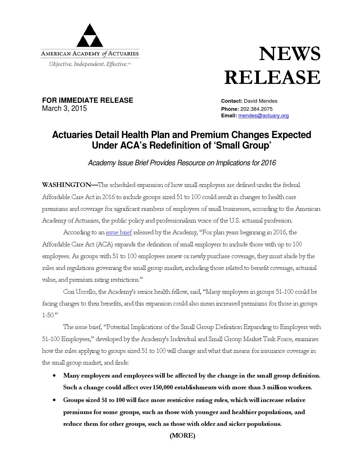 Actuaries detail health plan and premium changes expected ...