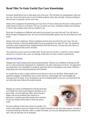 8433ae48221 Read This To Gain Useful Eye Care Knowledge Everyone should know how to  take good care of his eyes. This will help you tremendously with your eye  care.