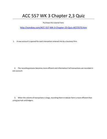 acc 557 quiz week 3 Acc 557 week 9 chapter 13 homework 5 acc 557 week 9 chapter 13 homework 5 click link below to buy:  bis 261 week 3 quiz bis 261 week 3 ilab bis 261 week 3 case .