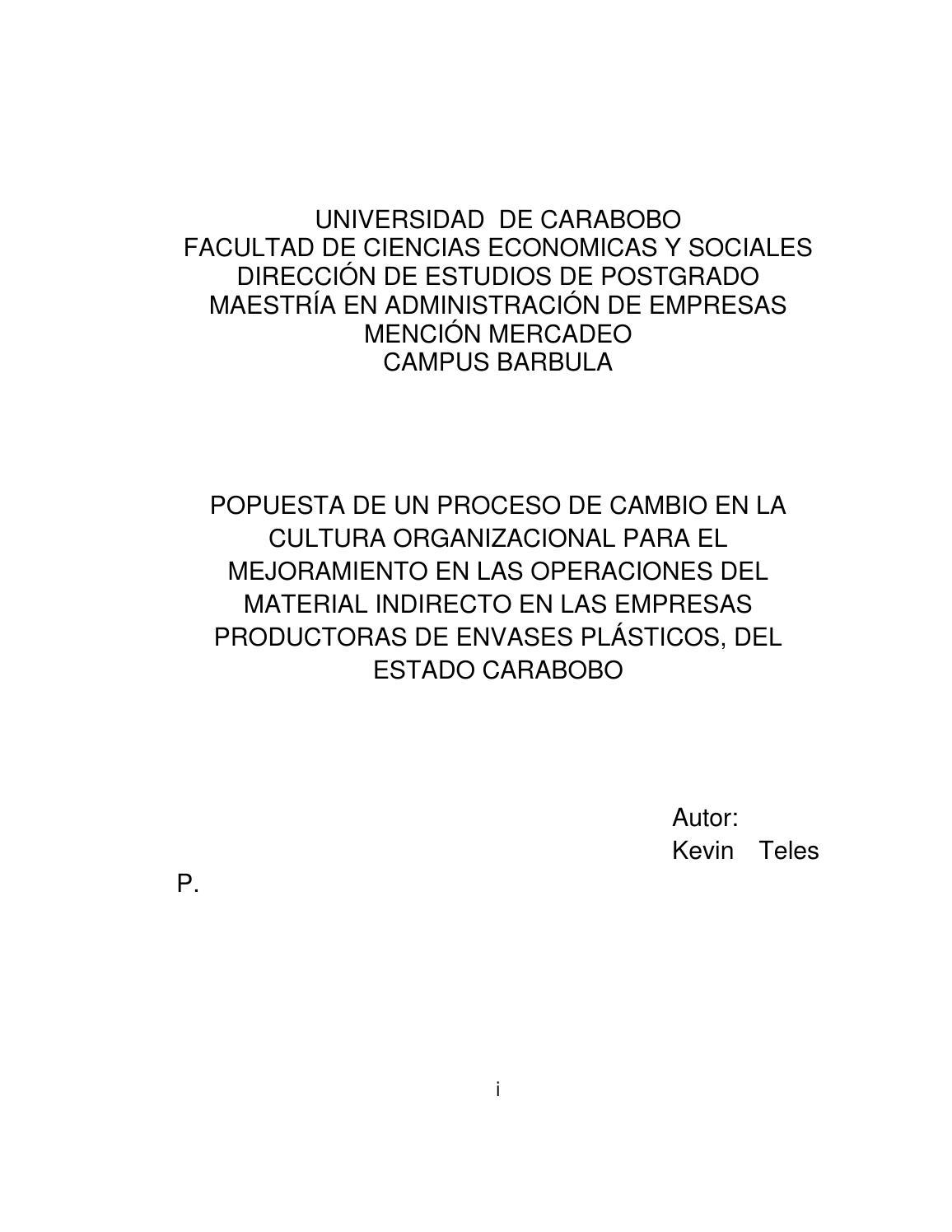 Tesis Empresas Envases Plasticos By Jairo Mendoza Issuu