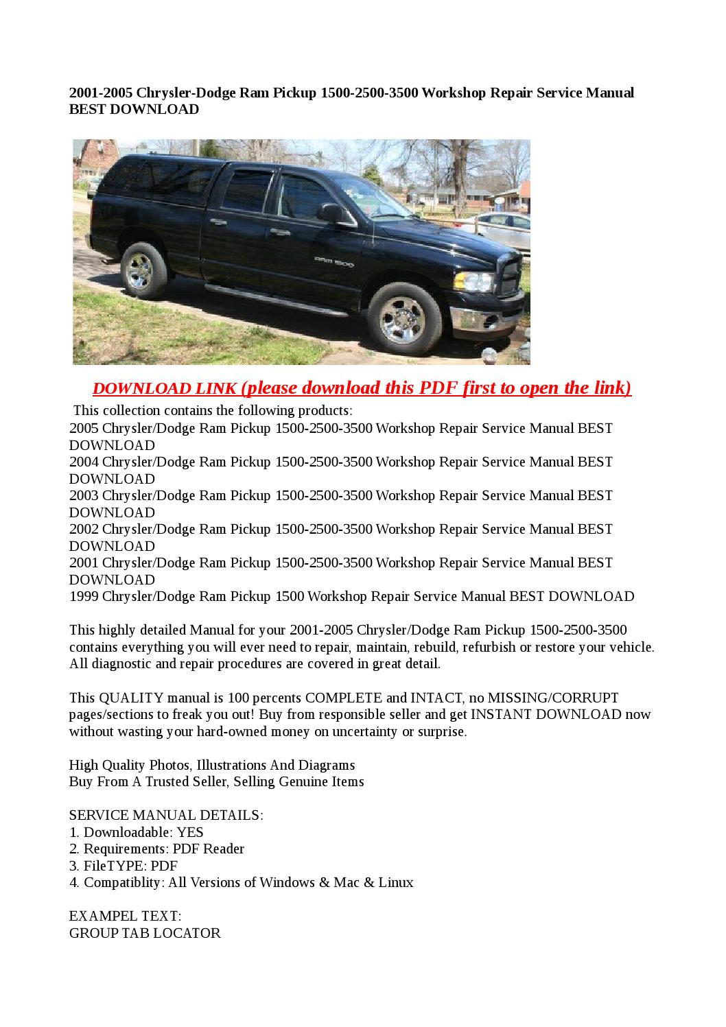 2001 2005 chrysler dodge ram pickup 1500 2500 3500. Black Bedroom Furniture Sets. Home Design Ideas