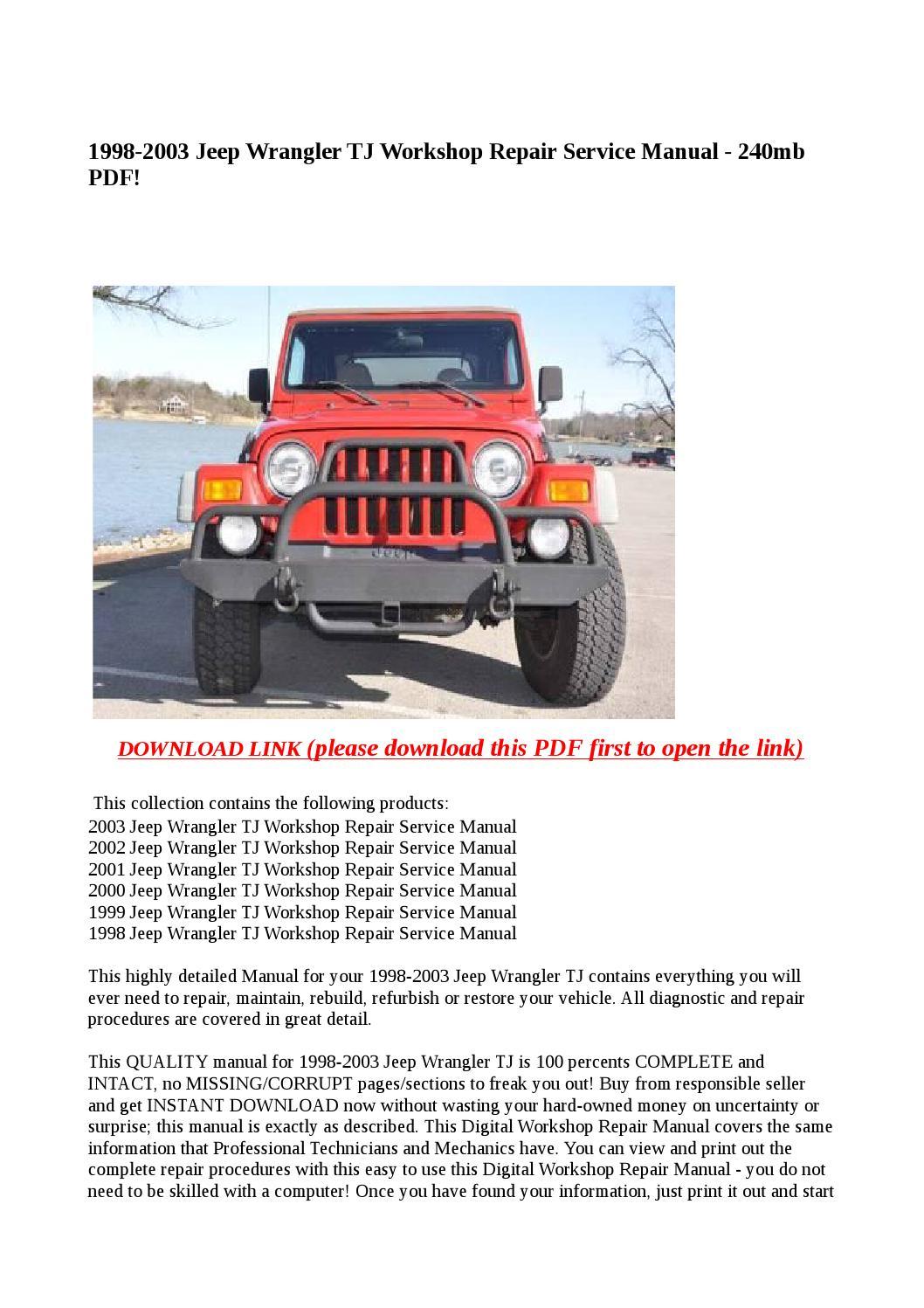 Jeep 1987 Wrangler Workshop Manual
