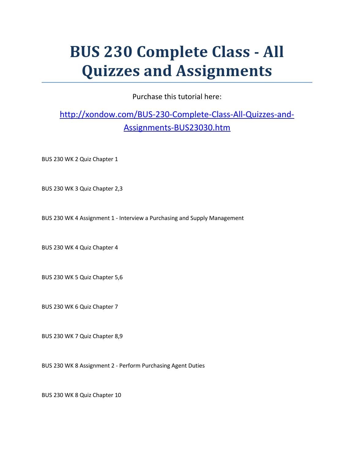 Bus 230 complete class all quizzes and assignments strayer