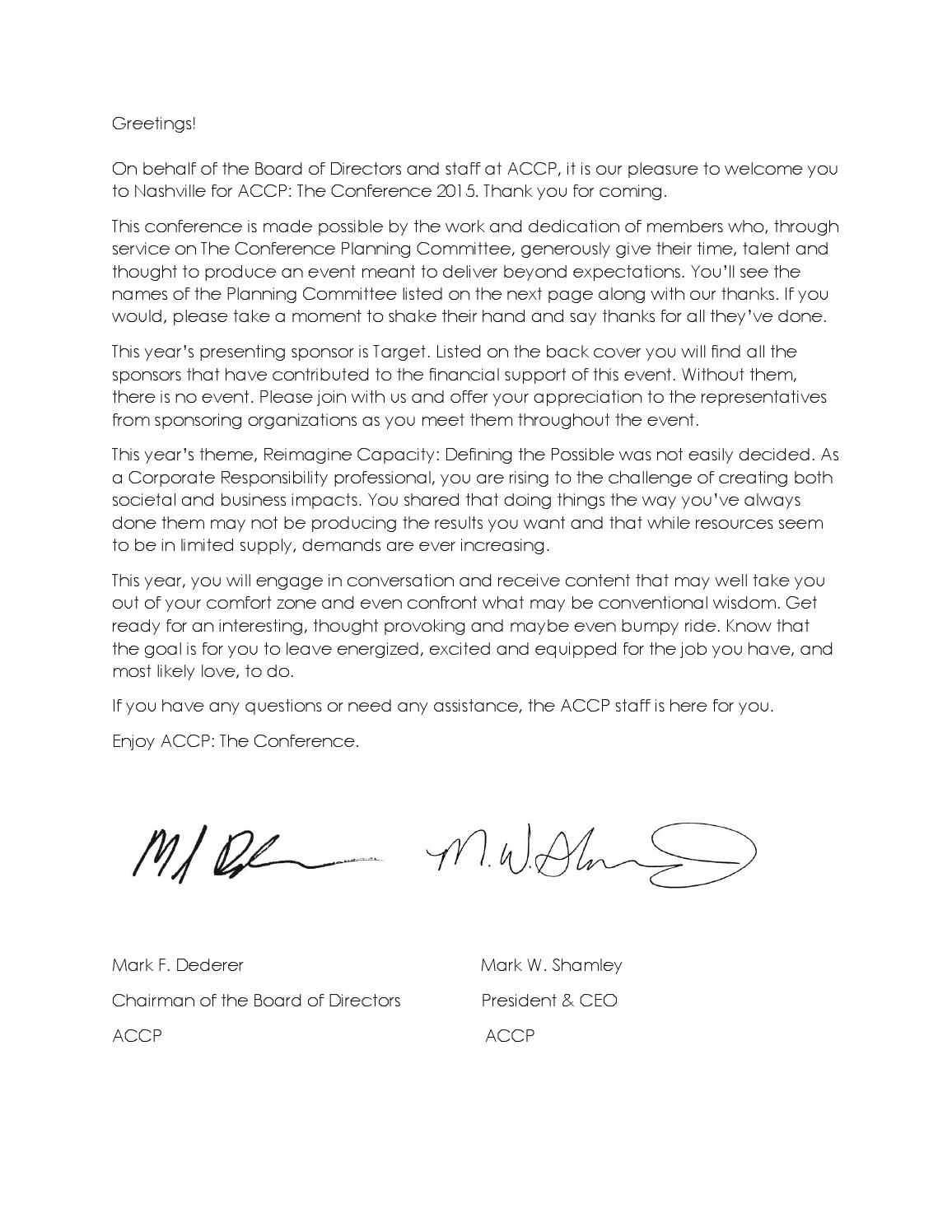 Accp  The Conference 2015 Welcome Letter By Accp