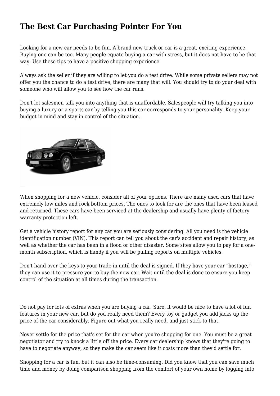 the best car purchasing pointer for you by puffymasquerade49 - issuu
