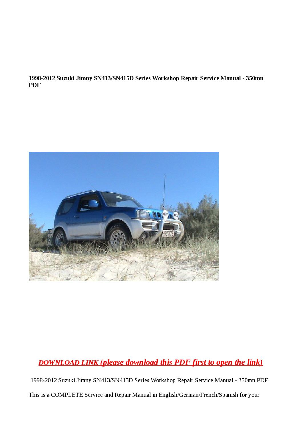 1998 2012 Suzuki Jimny Sn413 Sn415d Series Workshop Repair Service Manual 350mn Pdf By Xiumin