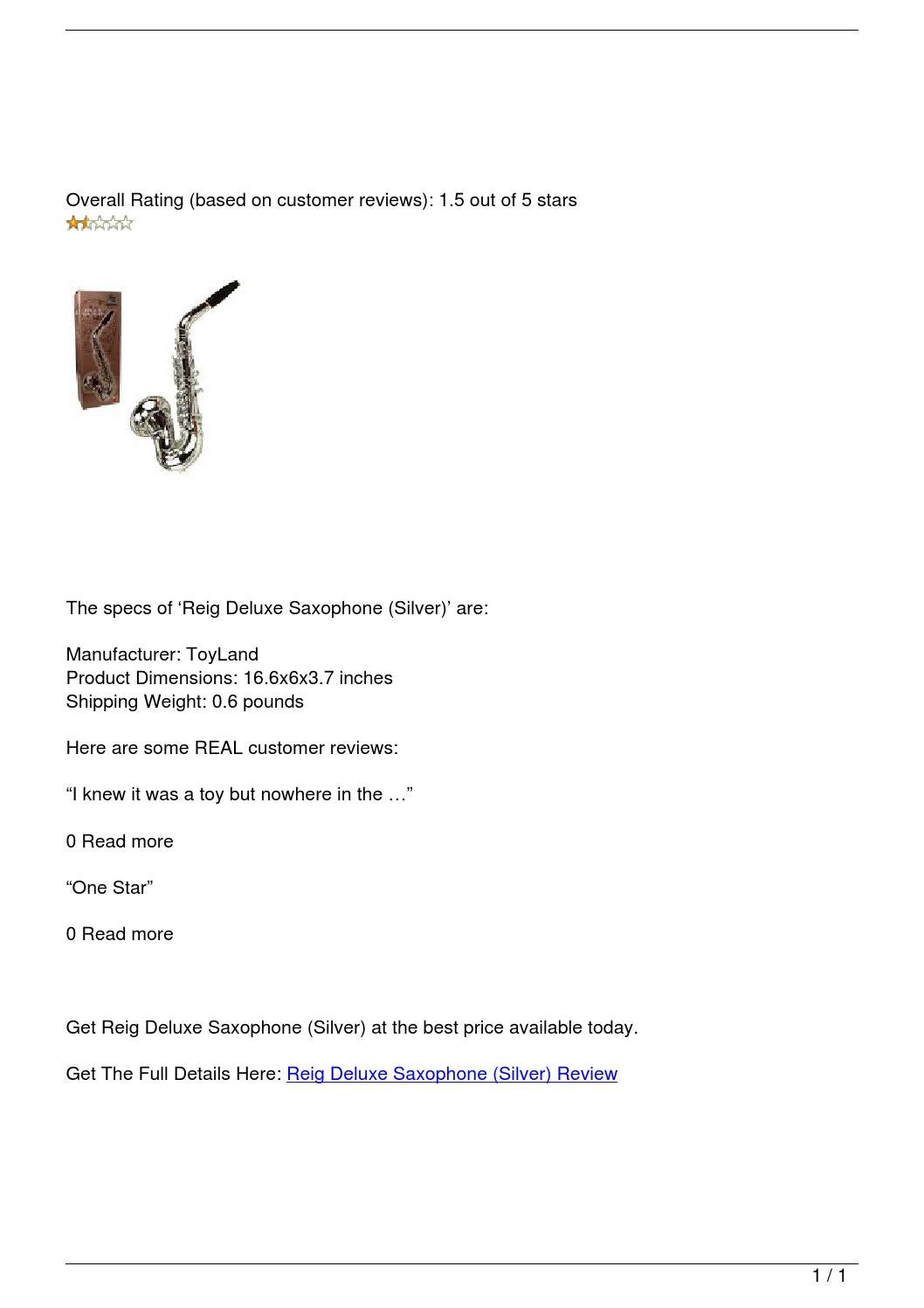 Silver Reig Deluxe Saxophone