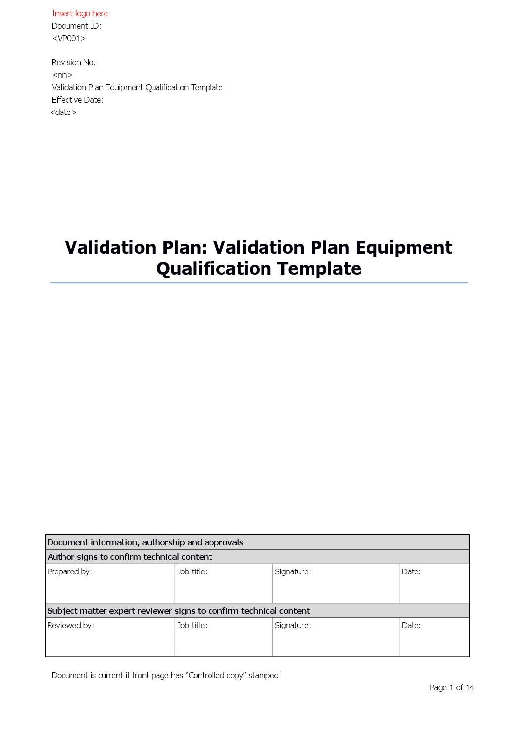 Vt Tmp1200 10 Validation Plan Equipment Qualification Template R02 By Pharmout Issuu