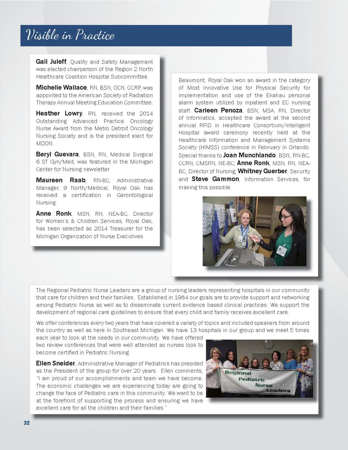 2014 Nursing Annual Report | Beaumont Hospital, Royal Oak by