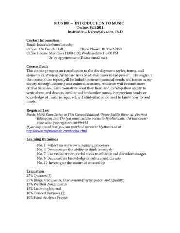 Mus 100 syllabus f11 by Karen Salvador, University of