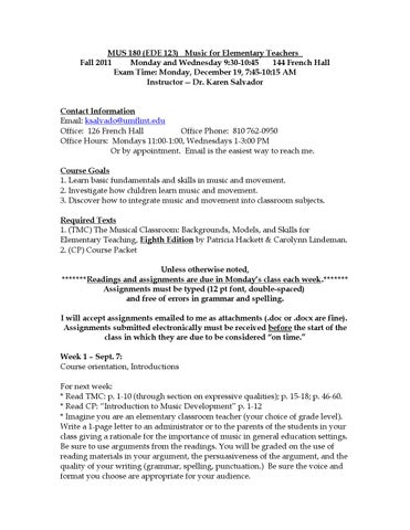 Mus 180 syllabus f11 by Karen Salvador, University of