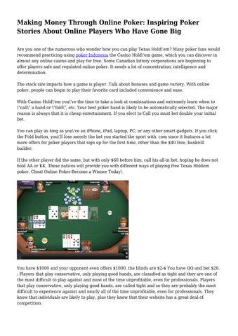 Making a living through online poker zebra slot canyon grand staircase
