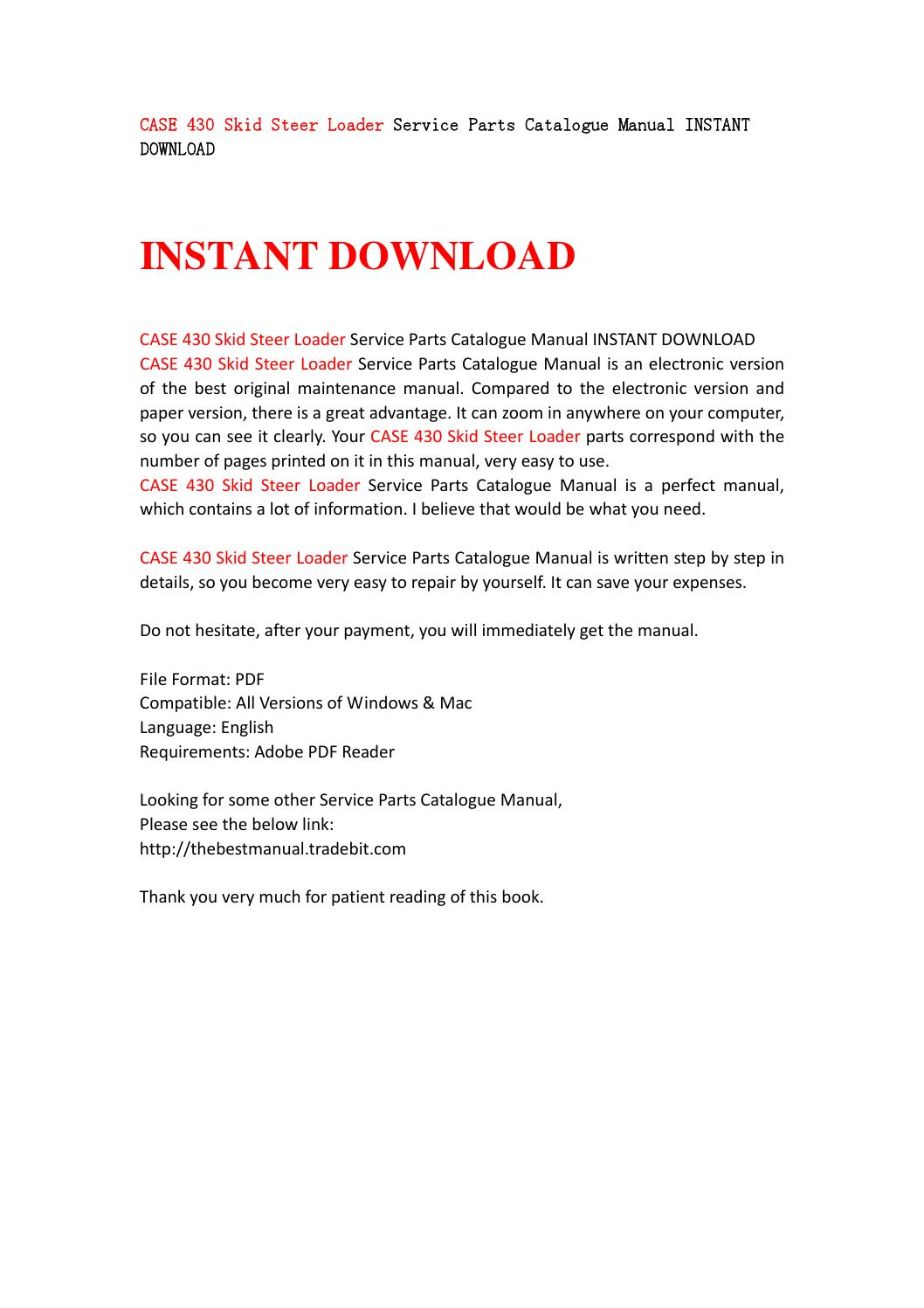 Case 430 skid steer loader service parts catalogue manual instant download  by jfsgebf - issuu