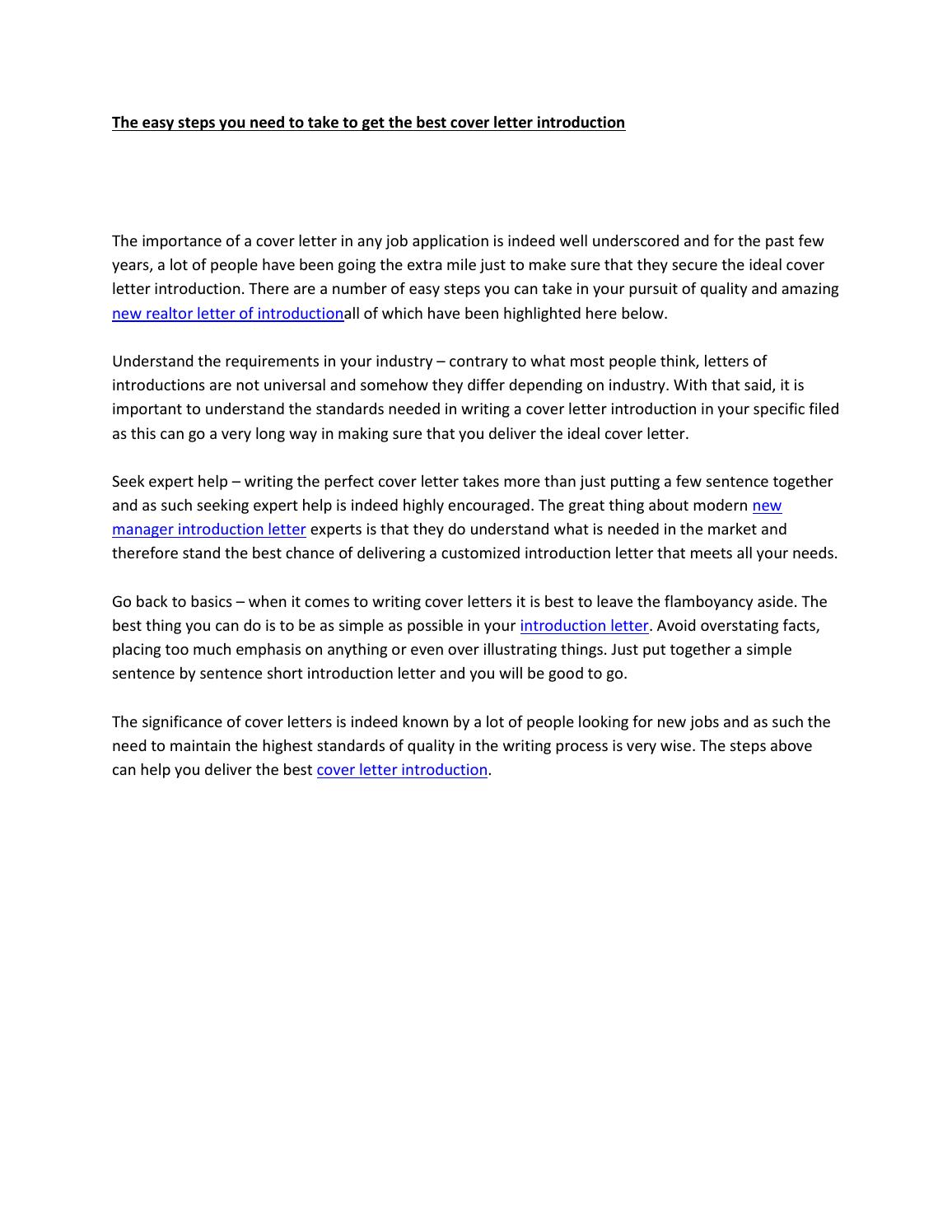 The Easy Steps You Need To Take To Get The Best Cover Letter Introduction  By DavidDavis9170   Issuu