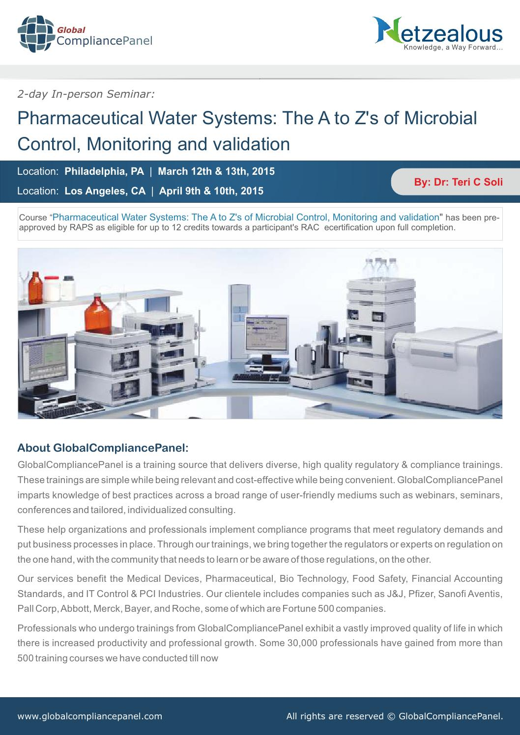 Free Seminar Brochure:Pharma Water System Validation by