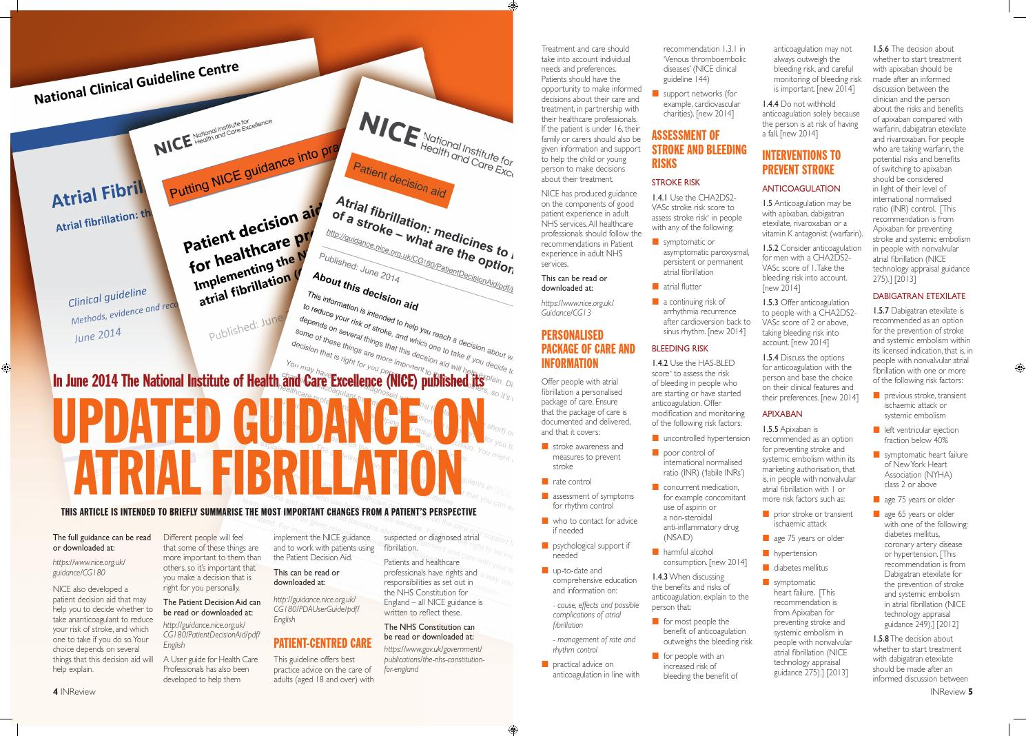 Summary nice updated guidance on atrial fibrillation june