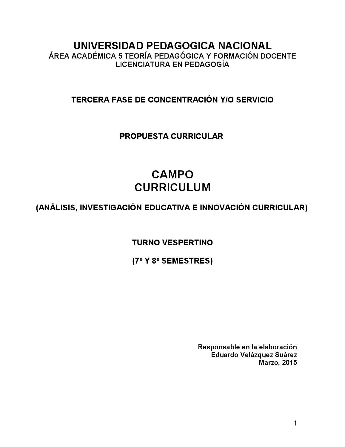 Curriculum by Coordinación de la Licenciatura en Pedagogía UPN - issuu