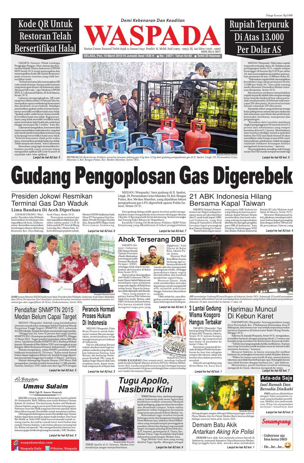 Waspada Selasa 10 Maret 2015 By Harian Waspada Issuu