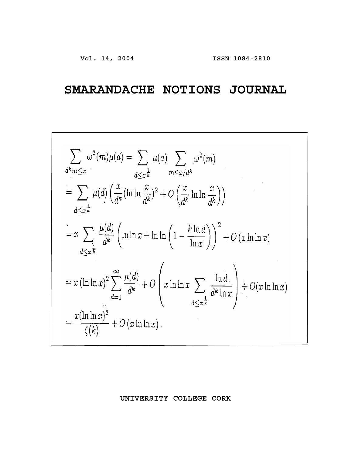 Smarandache Notions Journal, 14 by Don Hass - issuu