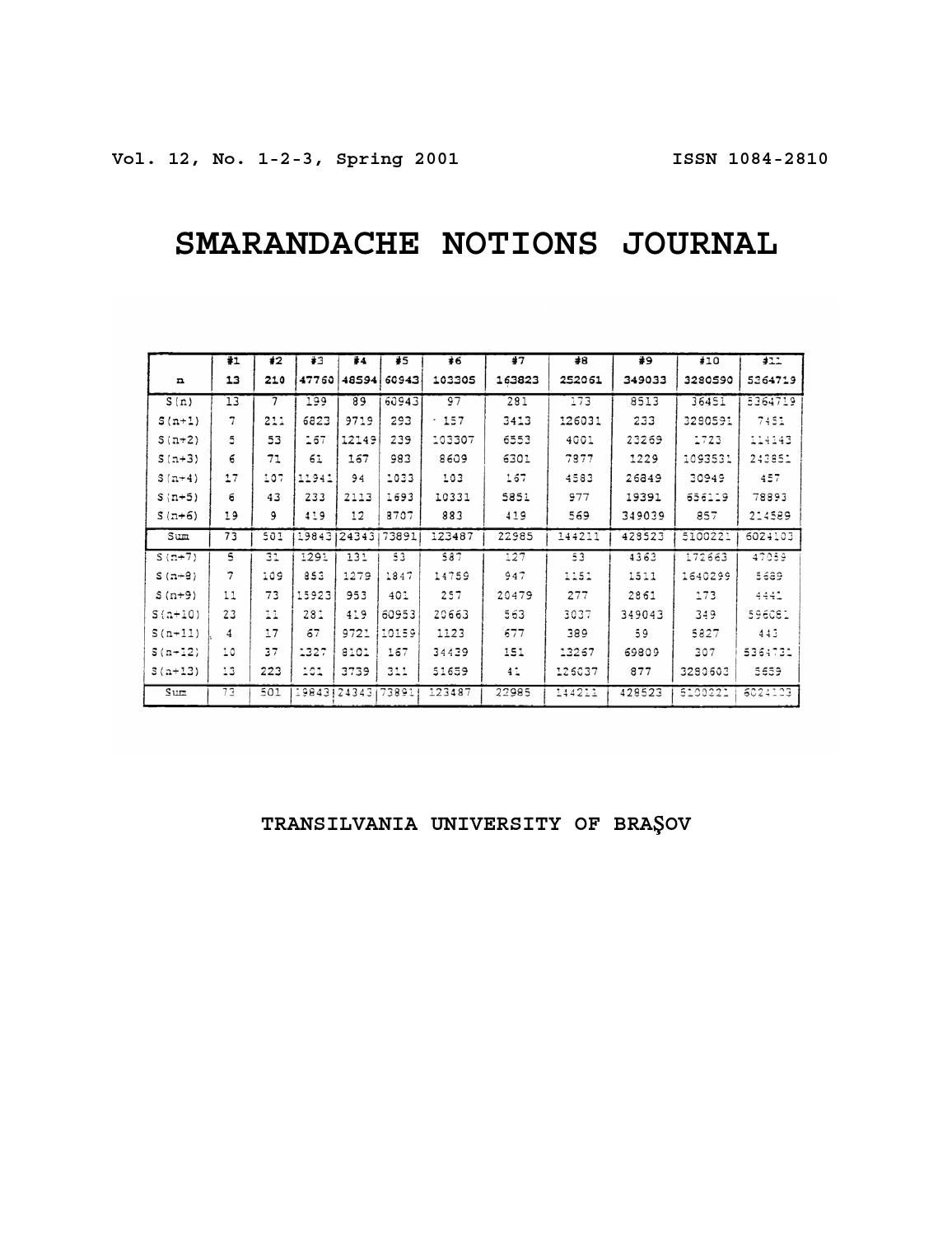 Smarandache Notions Journal 12 By Don Hass Issuu Xo Nb3 Lightning Fast Charging Data Cable For Iphone 5 6 7 Ipad Original
