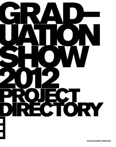 Graduation Catalogue 2012 By Design Academy Eindhoven