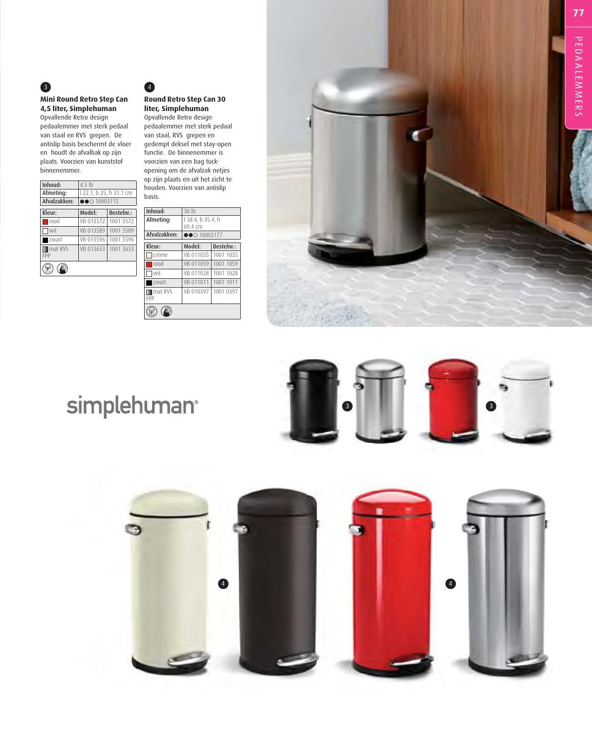 Simplehuman Round Retro Pedaalemmer 30 L Wit.Produkten Bielen Nv Vepa Bins Vuilbakken Folder By