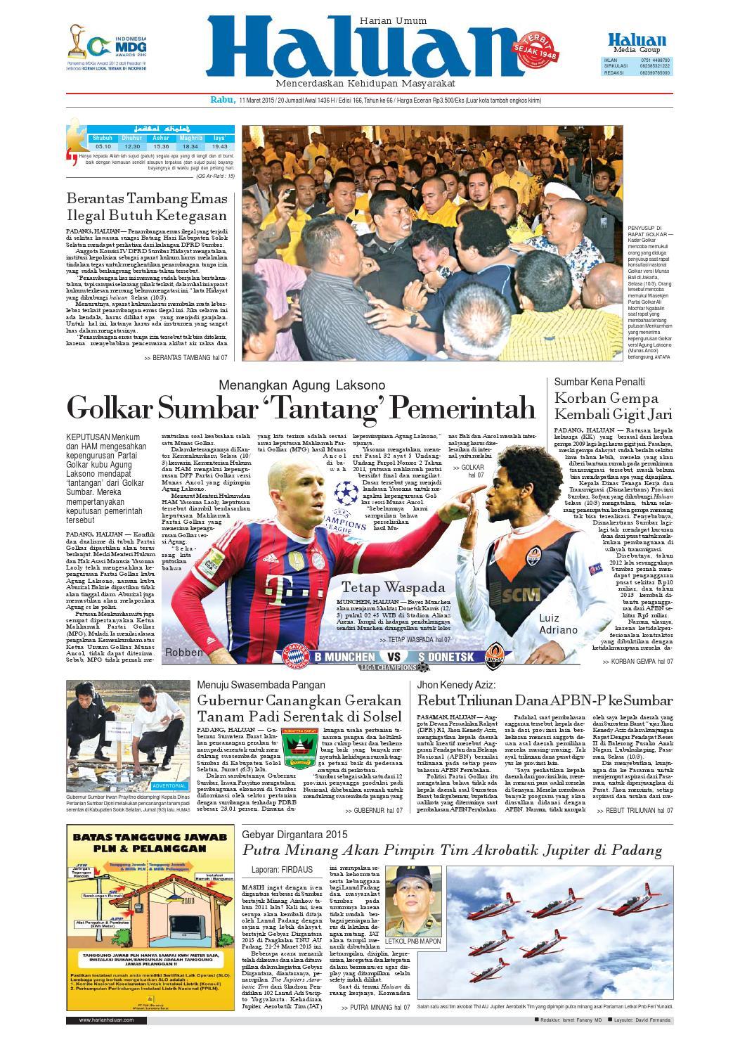 Haluan 11 Maret 2015 By Harian Issuu Cat Emas Pinang Padi