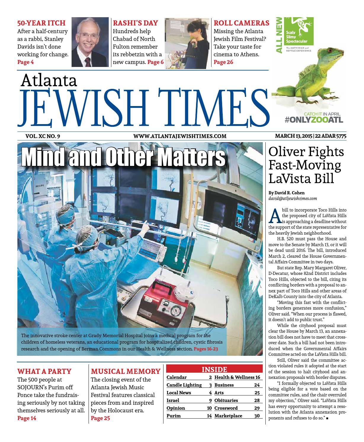 Atlanta Jewish Times, No. 9, March 13, 2015 by Atlanta Jewish Times ...