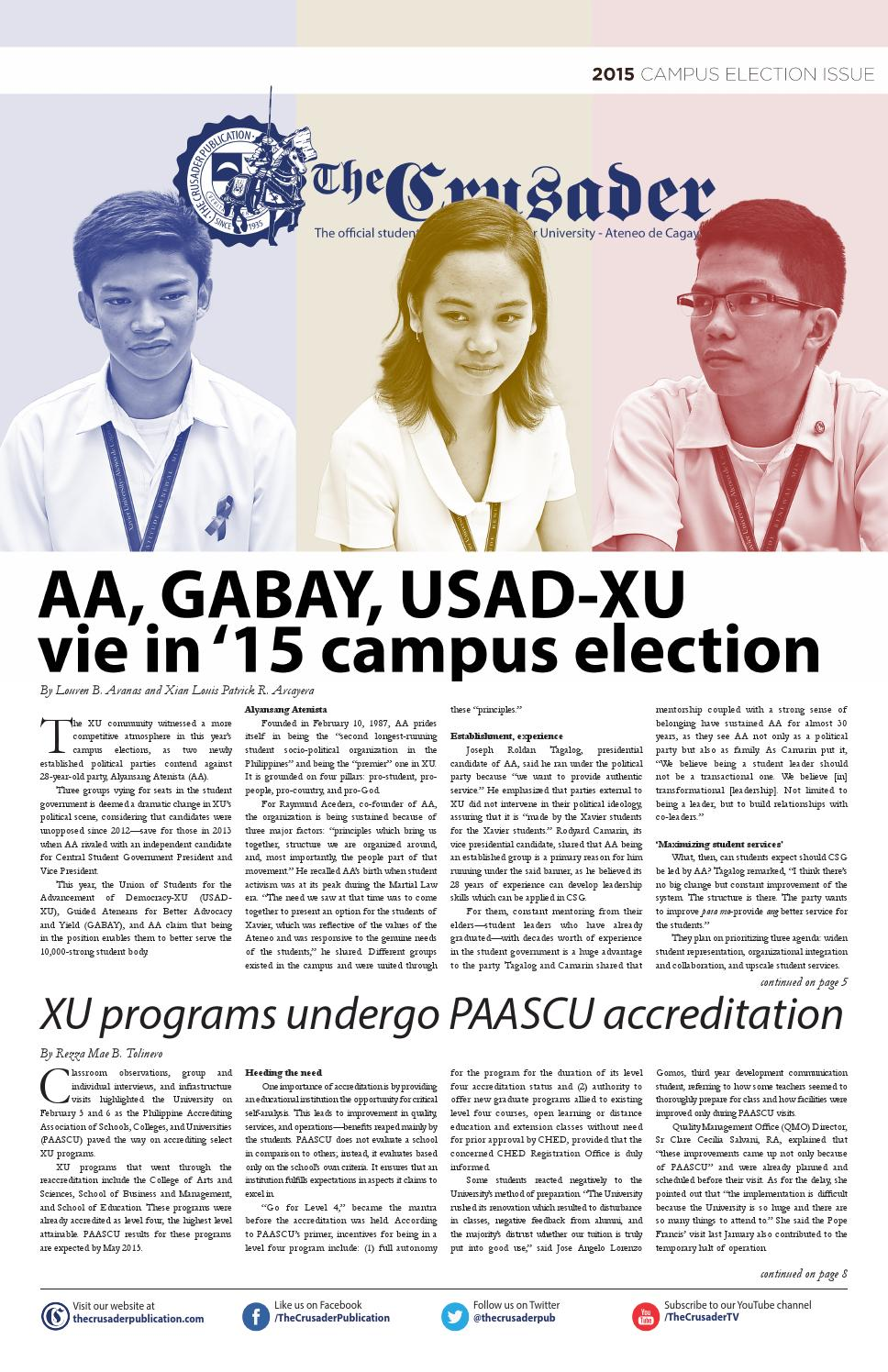 Thecrusader pre election tabloid 2015 by the crusader publication thecrusader pre election tabloid 2015 by the crusader publication issuu fandeluxe Image collections