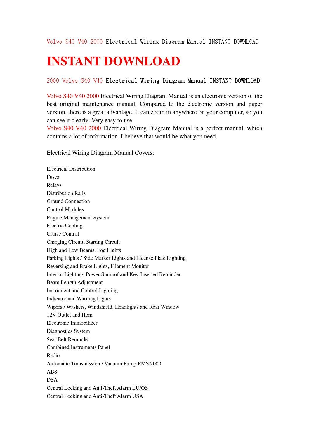 Volvo S40 V40 2000 Electrical Wiring Diagram Manual