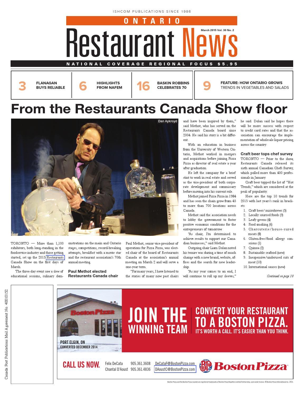 Ontario Restaurant News - March 2015 by Ishcom Publications - issuu