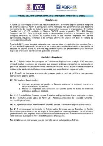 fc8985268b PRÊMIO MELHOR EMPRESA PARA SE TRABALHAR NO ESPÍRITO SANTO Regulamento A  ABRH-ES (Associação Brasileira de Recursos Humanos - Seccional Espírito  Santo) é ...