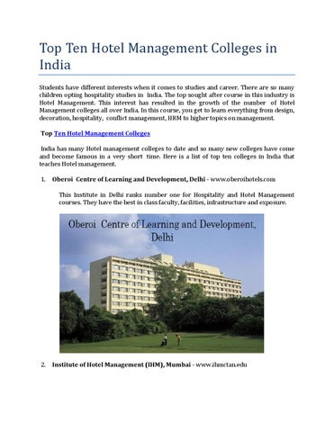 Top Ten Hotel Management Colleges In India By Amitsharma7125 Issuu