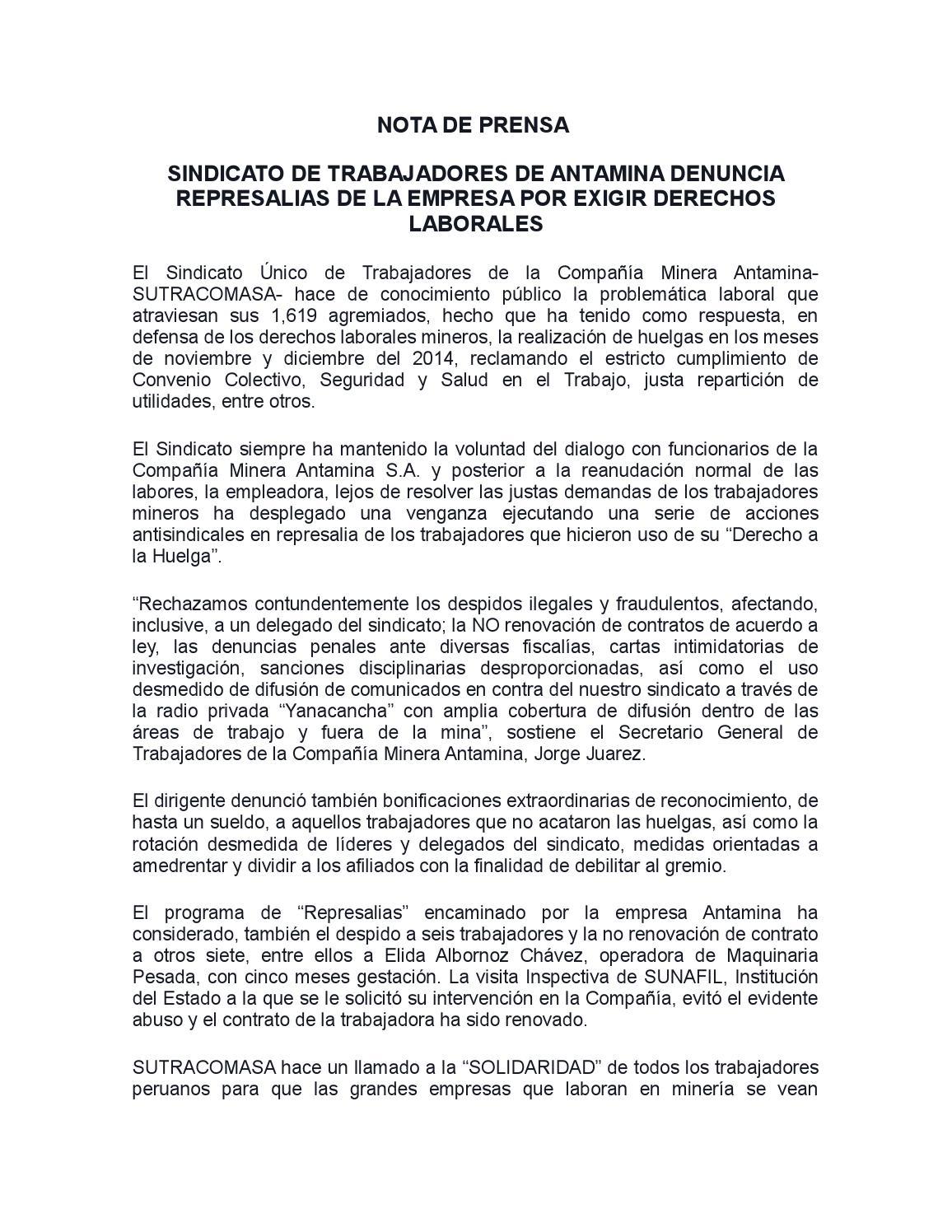 DENUNCIAMOS REPRESALIAS DE ANTAMINA by Sutracomasa - issuu