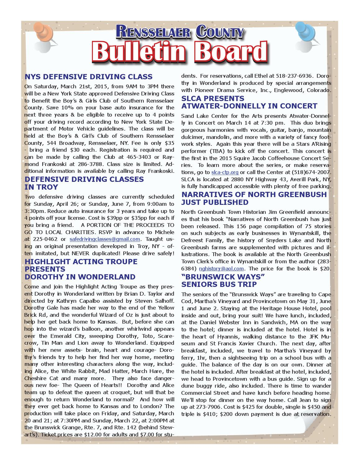Rensselaer county bulletins 031215 by capital region for Broadway motors rensselaer ny