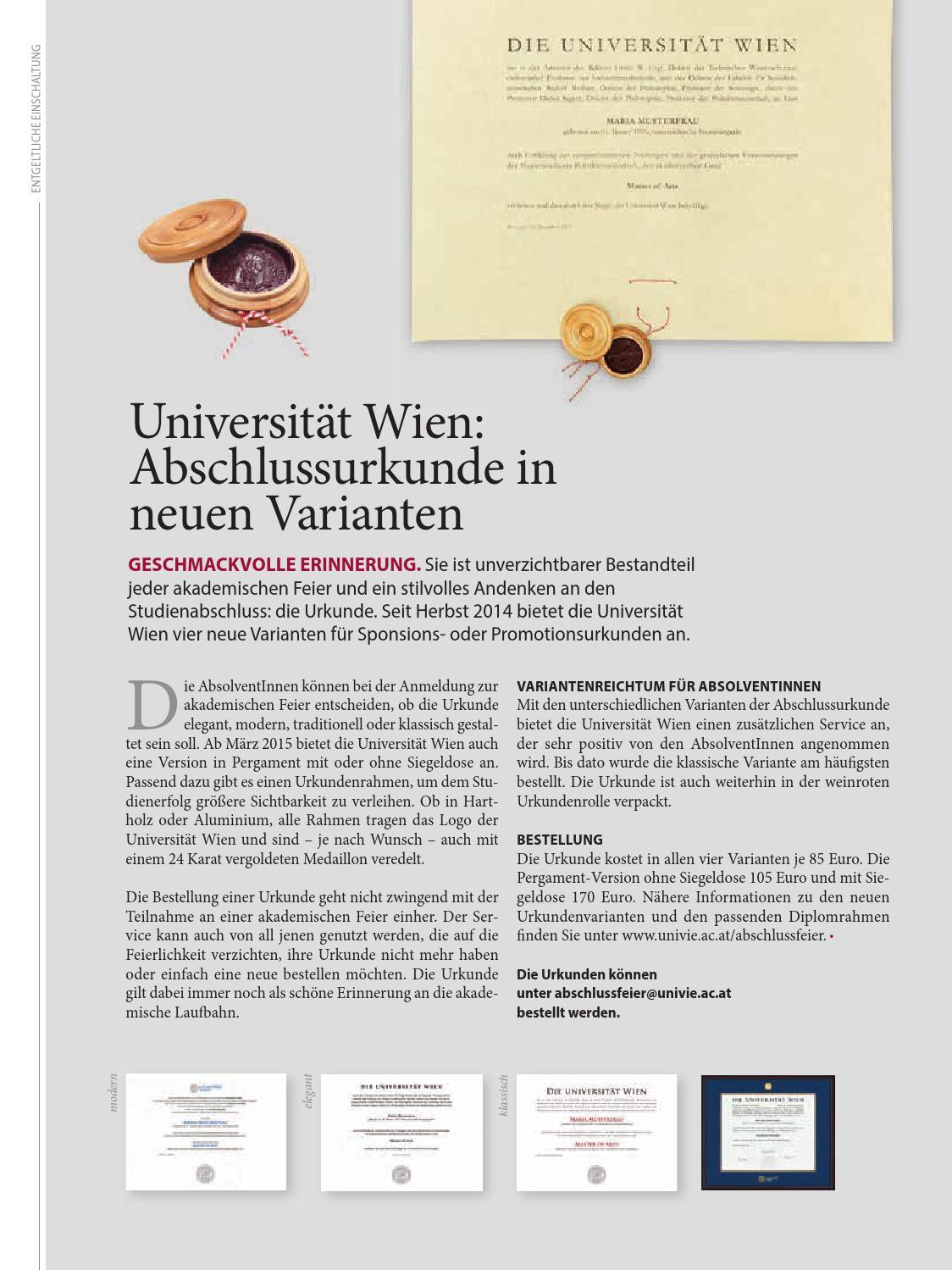 univie 01/2015 – das Alumnimagazin der Universität Wien by ...
