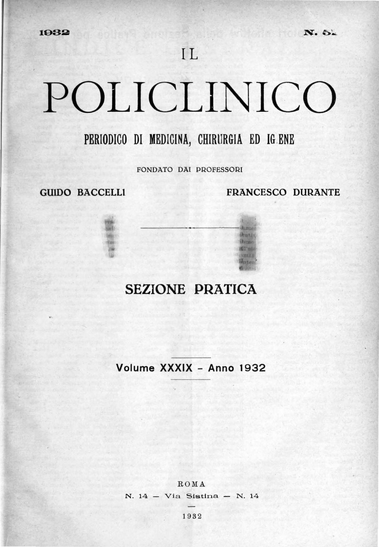 Il policlinico sezione pratica anno 1932 parte 1 ocr parte1 by ...