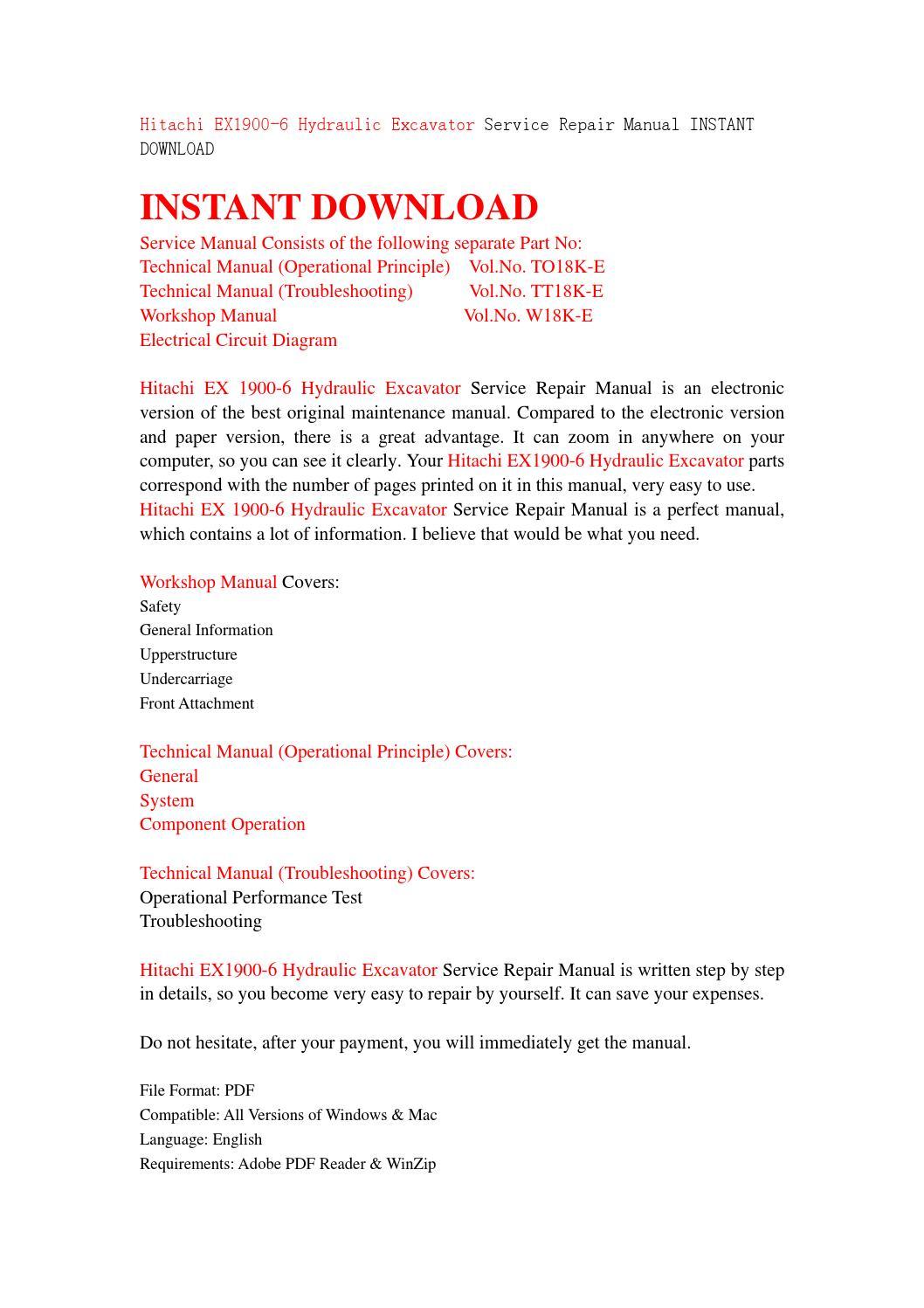Hitachi Ex1900 6 Hydraulic Excavator Service Repair Manual Instant Electrical Circuit Diagram Mac Download By Jjfhjsnef Issuu