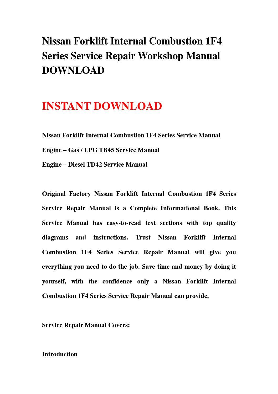 nissan forklift internal combustion 1f4 series service. Black Bedroom Furniture Sets. Home Design Ideas