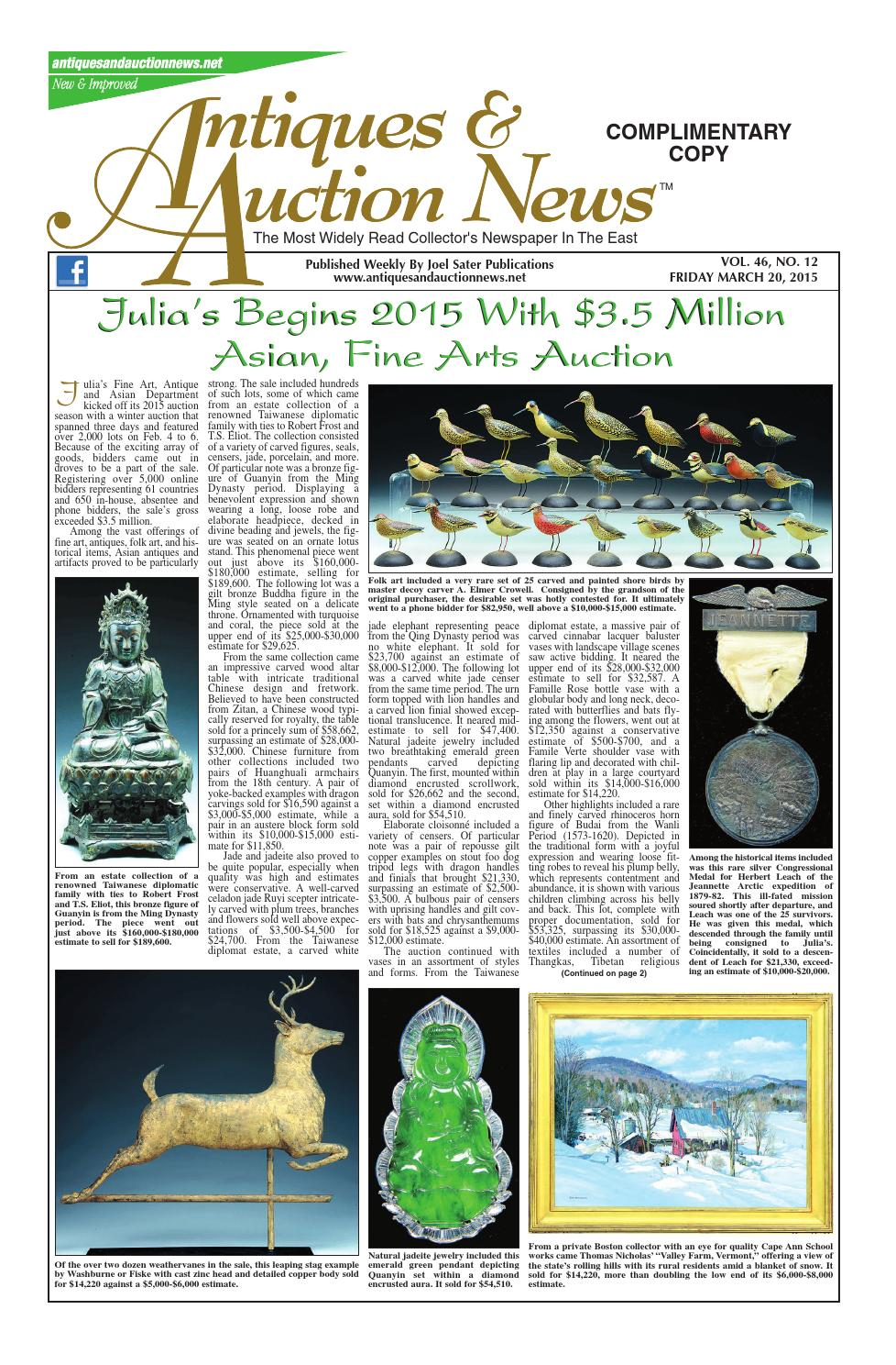 3a820354ee9d Antiques & Auction News 032015 by Antiques & Auction News - issuu